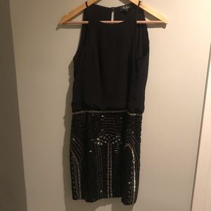 Black silk and sequence Parker dress